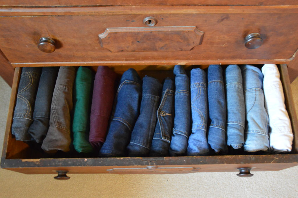 organized jeans drawer