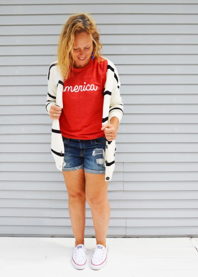 America tee with striped cardigan