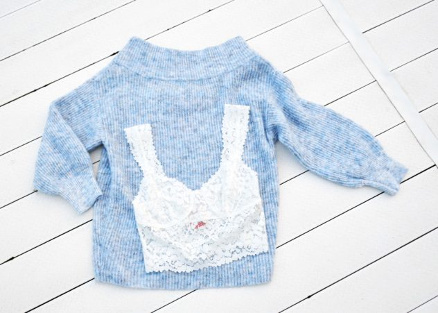 rd style off shoulder sweater free people lace bralette