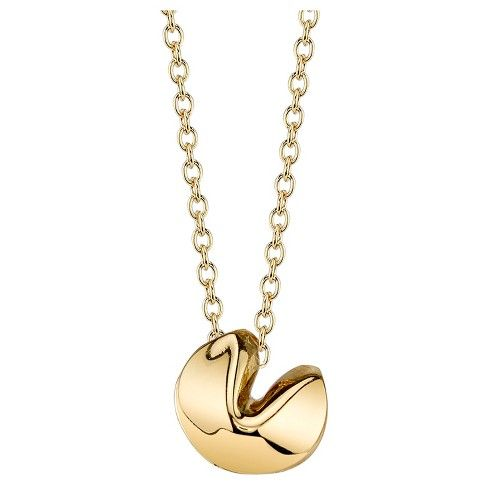 Gold fortune cookie necklace target