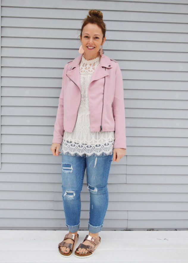 pink target moto jacket who what wear