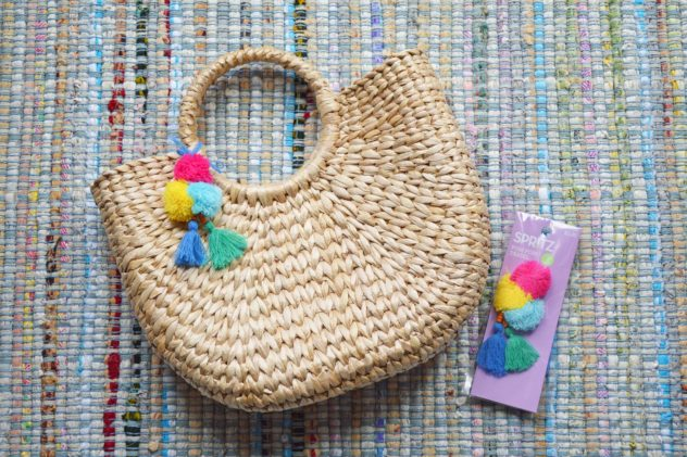 natural chic woven ring handle tote bag summer