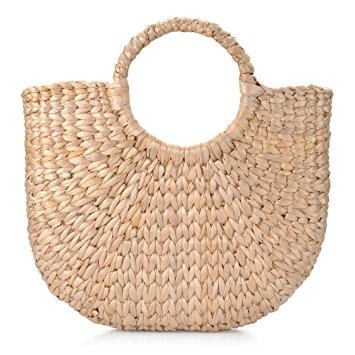 Natural Chic Ring Handle Woven Tote