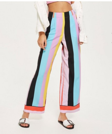 Topshop Slouch Rainbow Stripe Trousers