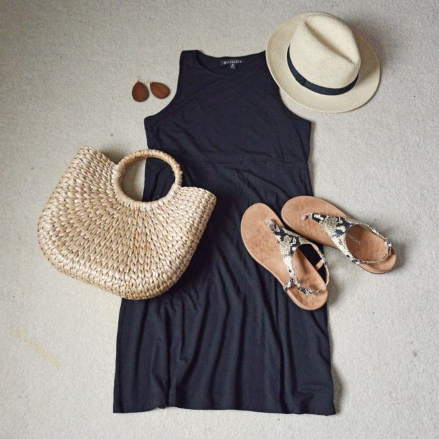 black swing dress styled casually