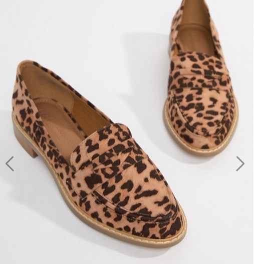 asos leopard loafers