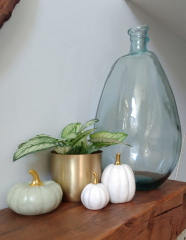Green White Gold fall decor