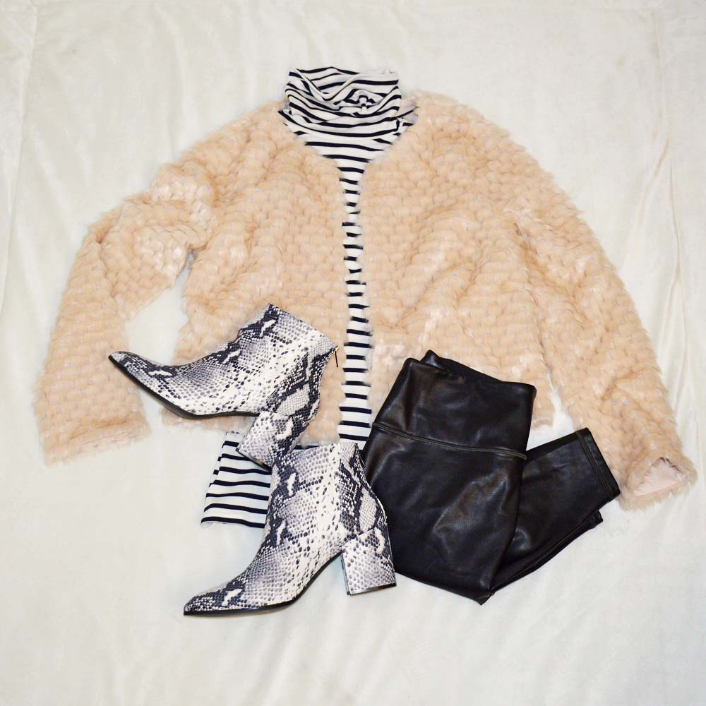 Semi dressy semi casual faux fur jacket outfit for New Year's Eve party