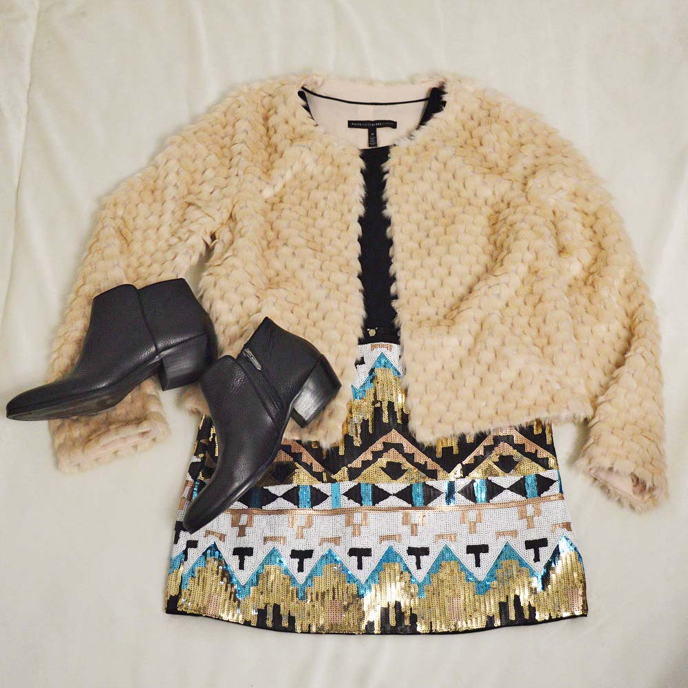 Faux Fur Jacket with Sequined Skirt for New Year's Eve Outfit