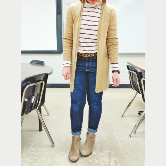 Long cardigan with striped tee teacher outfit idea