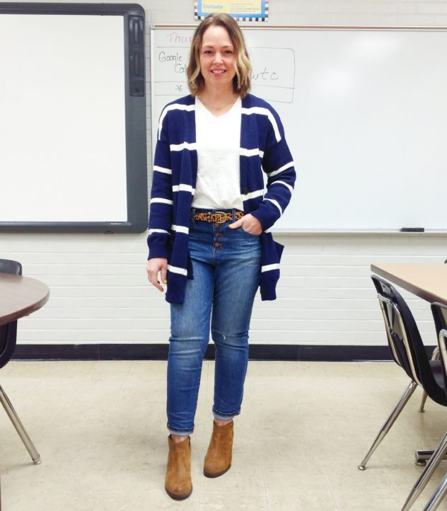 Navy striped long sweater with boots casual teacher outfit