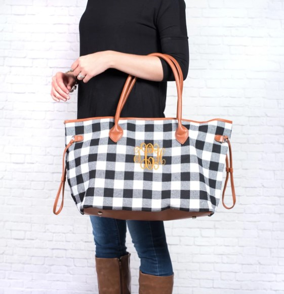 teacher tote bag buffalo plaid check monogrammed personalized carryall