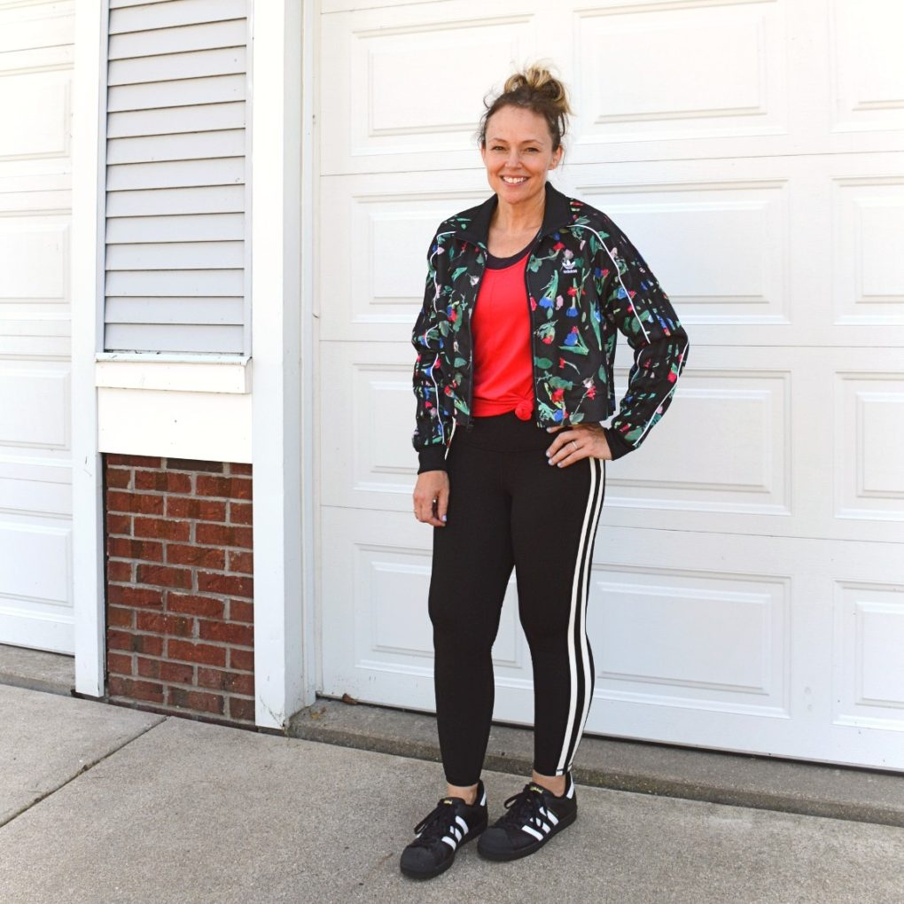 Adidas Bellista Track Jacket with Superstars and Old Navy leggings for a fashion fall refresh