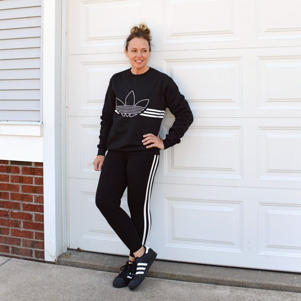 Adidas Trefoil Sweatshirt with Old Navy Leggings and SuperStars for a fashion fall refresh
