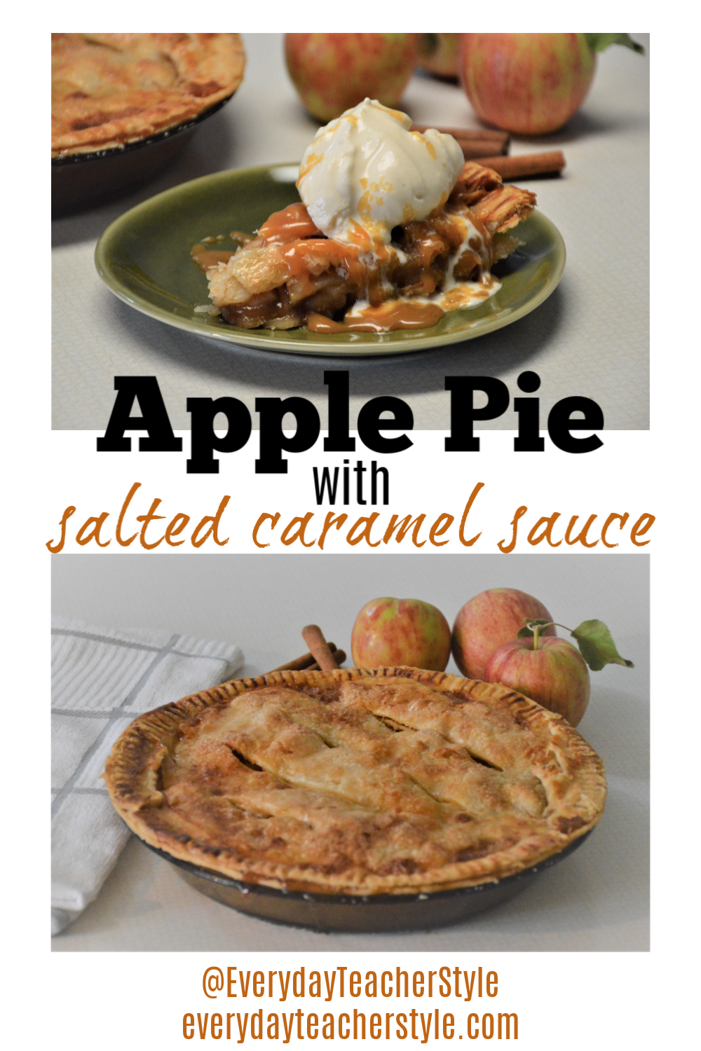 Best easy apple pie with salted caramel sauce recipe - serve with vanilla ice cream