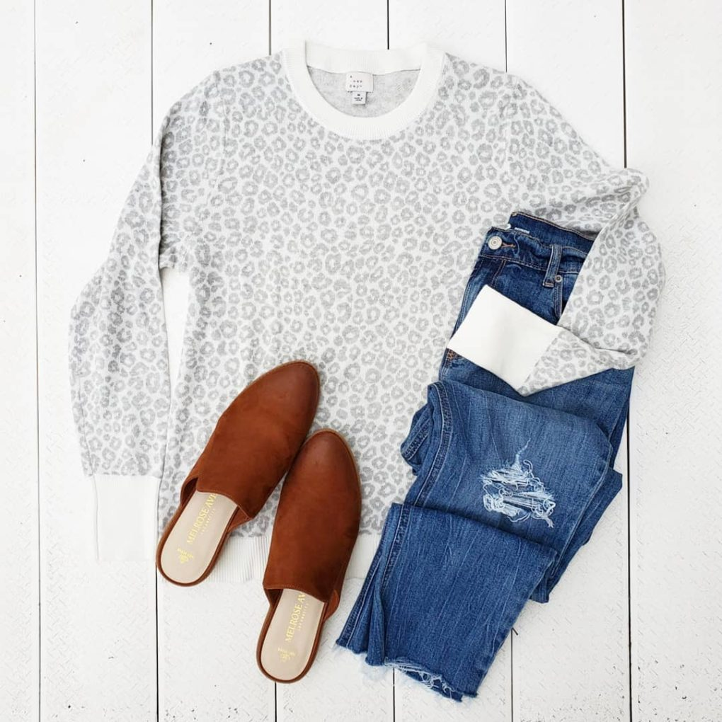 Light gray grey and white leopard cheetah sweater
