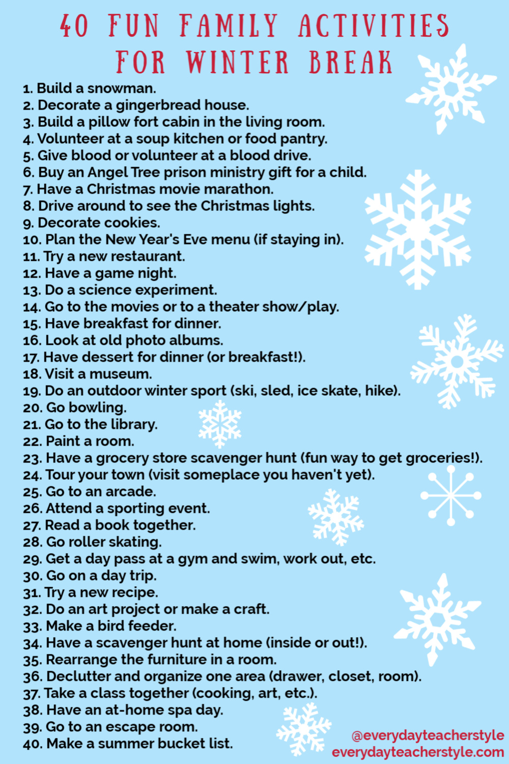 40 things for families to do over Christmas vacation