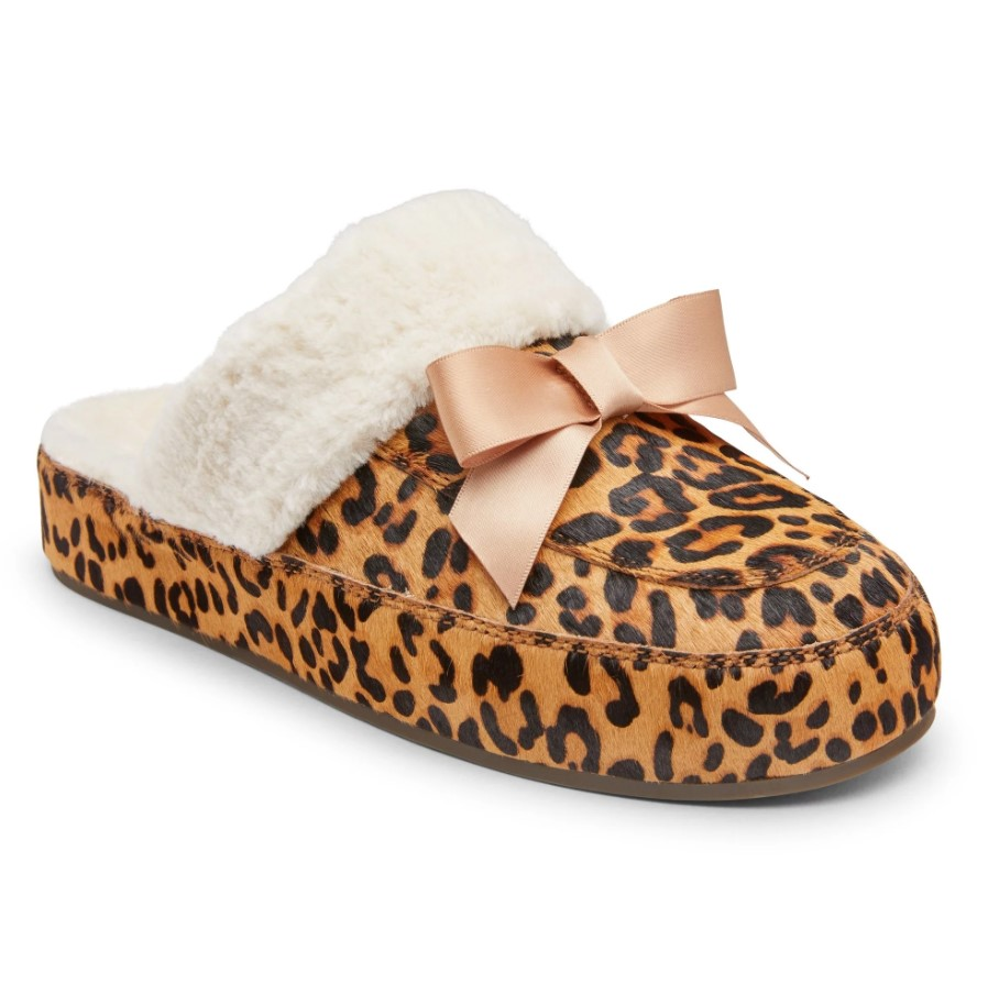 Vionic Nessie Slippers in Leopard and Shearling Orthotic Comfortable Support
