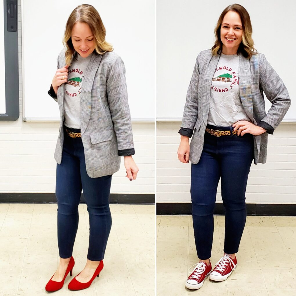 Casual holiday teacher outfit with graphic tee, red shoes, and leopard belt