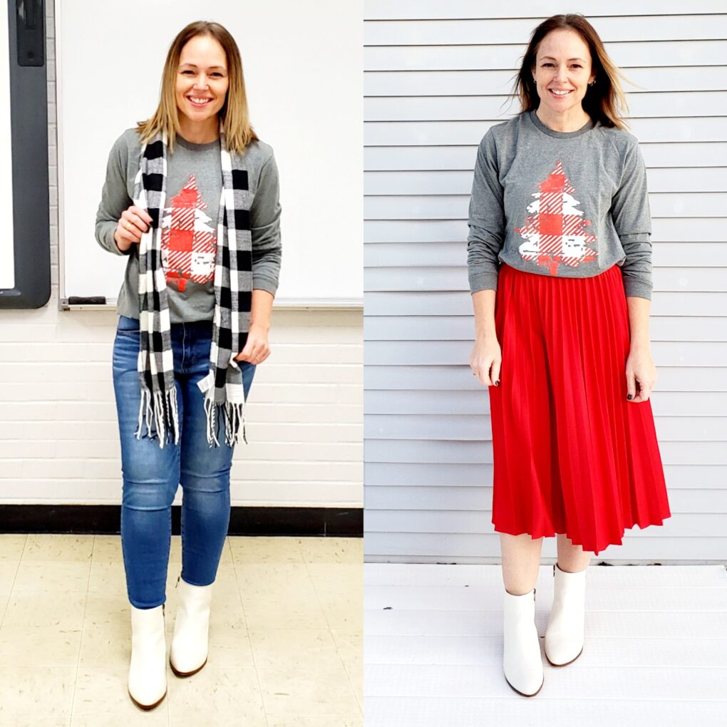 Casual holiday outfit ideas featuring white boots
