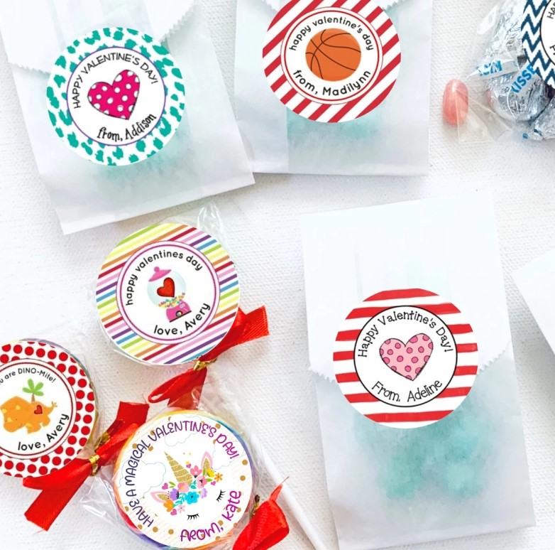 Valentine's Day treat bag stickers
