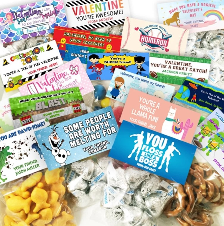 Personalized valentines with clear treat bags and stickers