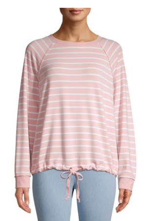 Walmart Time and Tru Striped Sweatshirt Drawstring Waist