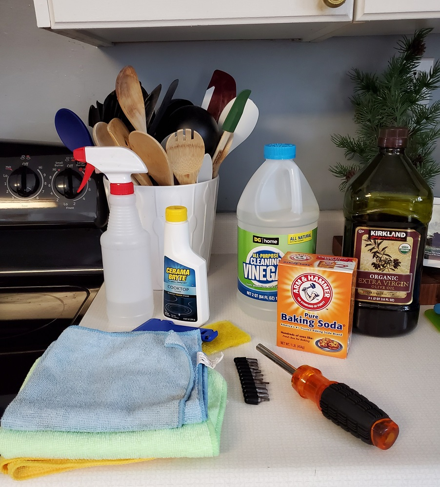 supplies needed to deep clean oven and in between glass