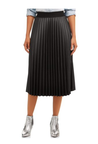 Walmart Time and Tru faux leather pleated skirt