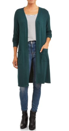 Walmart Time and Tru Dark Teal Duster Cardigan
