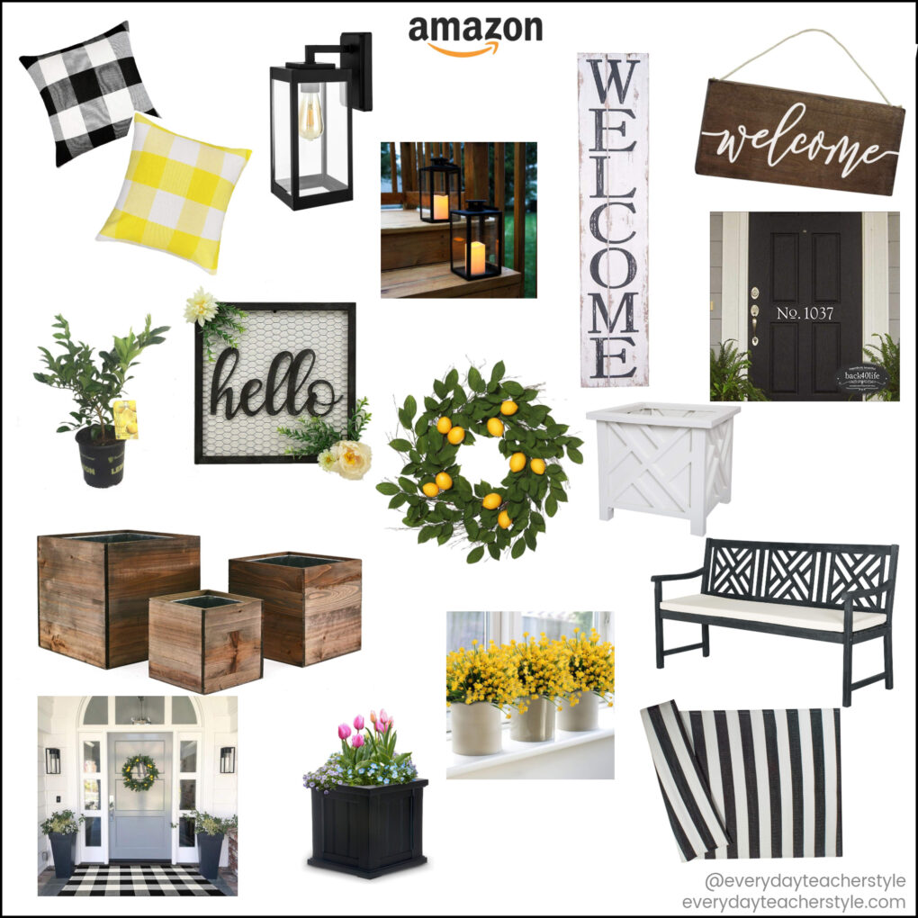 Collection of spring porch decor items from Amazon most under $50 for budget style