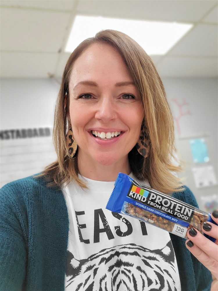 Everyday Teacher Style KIND protein bar for a snack