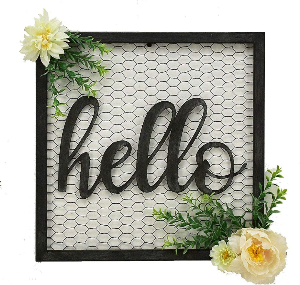 hello wall hanging sign