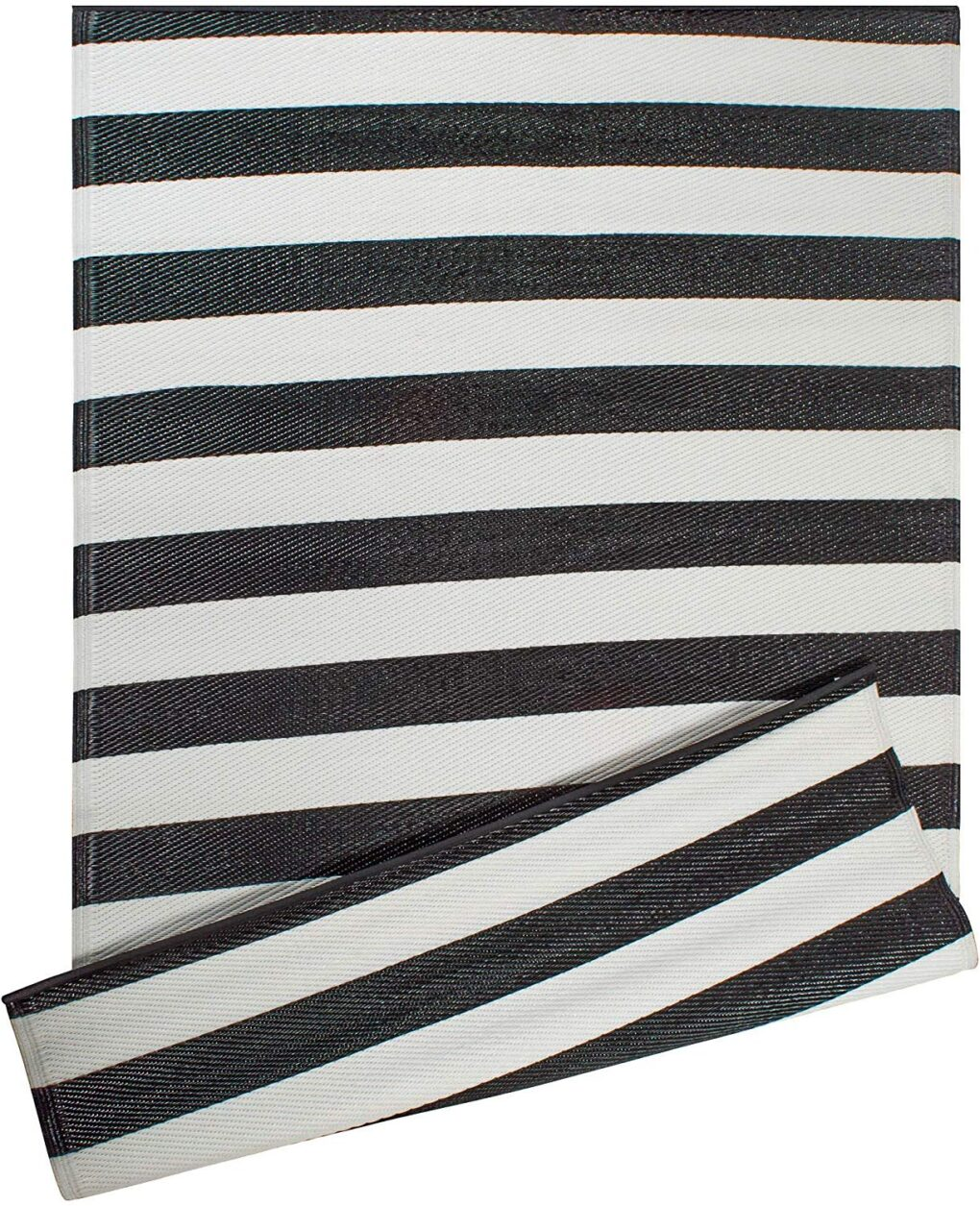 Striped indoor outdoor reversible polypropylene rug black and white