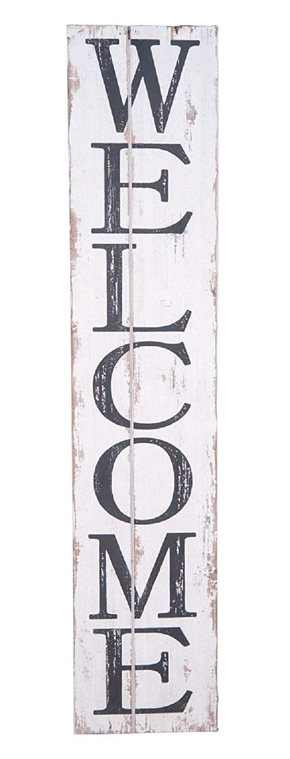 "Rustic Wood Welcome Sign, 42"" vertical"