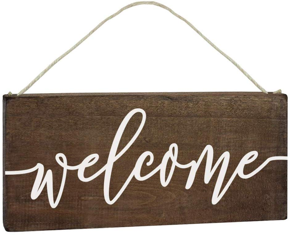 Wood wall hanging WELCOME sign