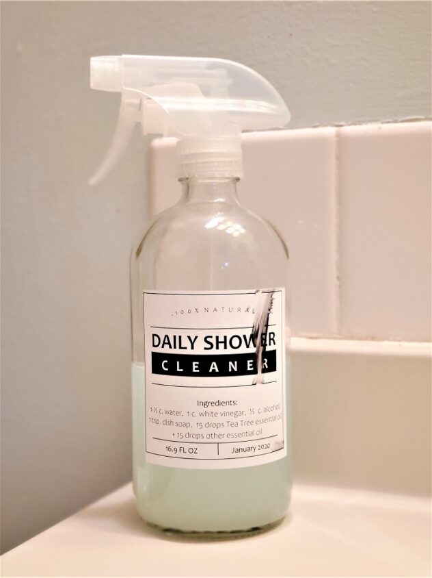 Everyday Teacher Style DIY Daily Shower Cleaner Essential Oils recipe - example of smeared ink due to label ink not being dry