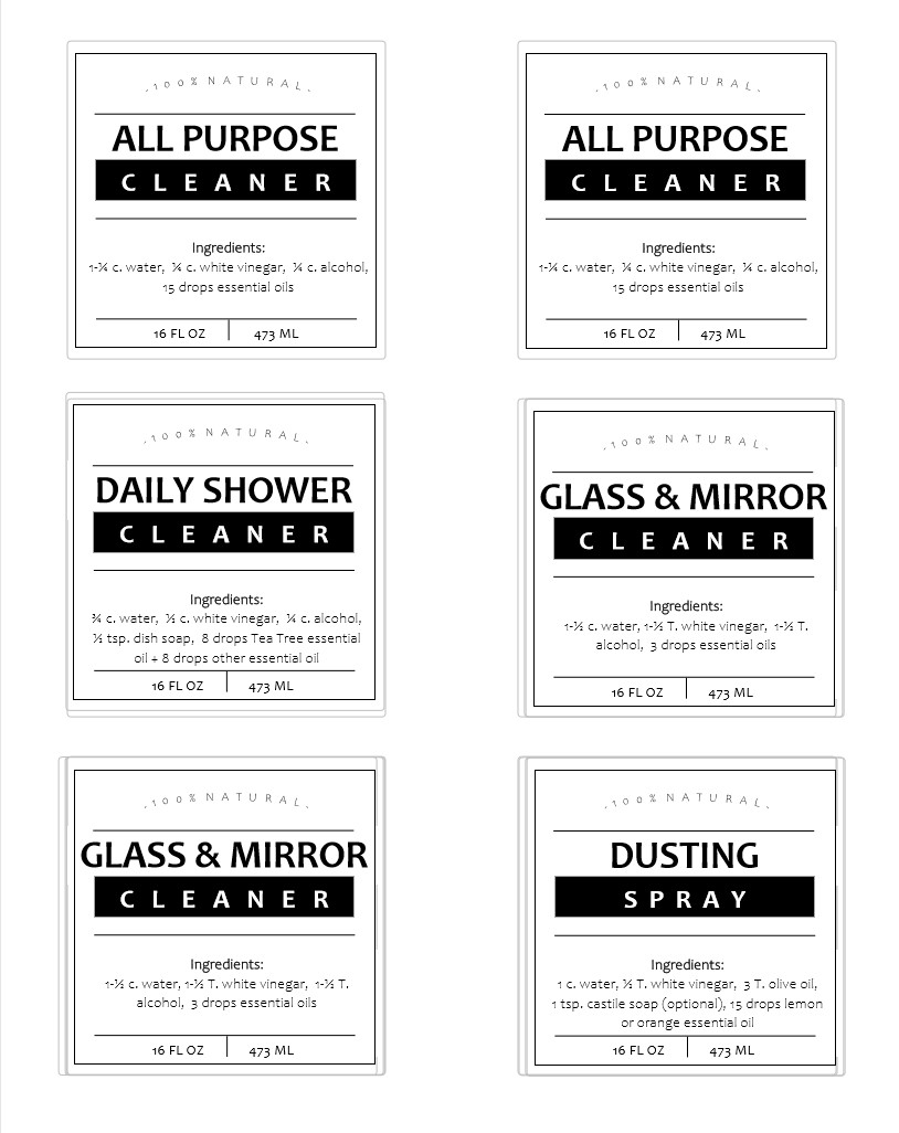 DIY Essential Oil all natural cleaning spray bottle labels example