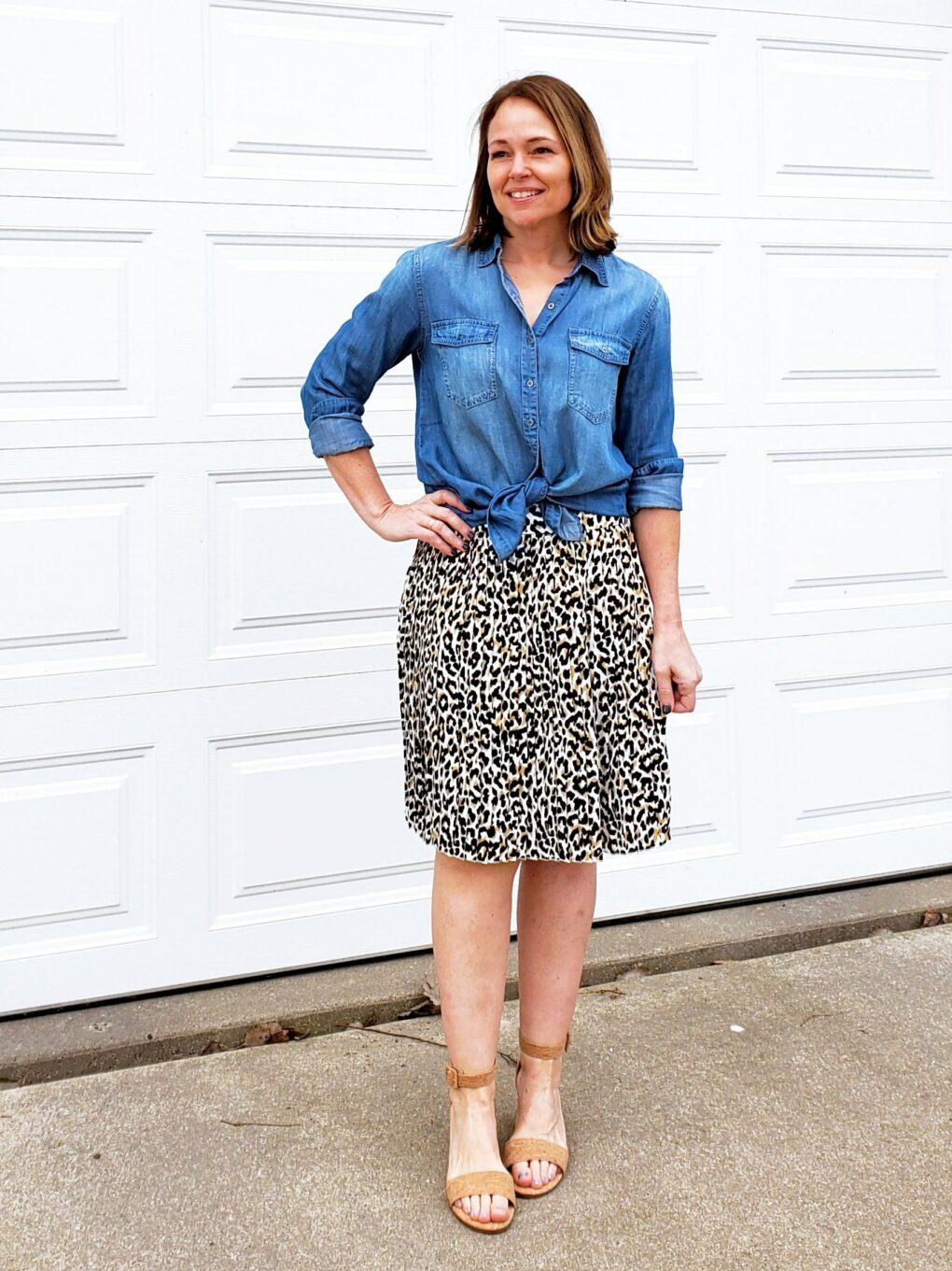 Chambray shirt with leopard skirt and heels