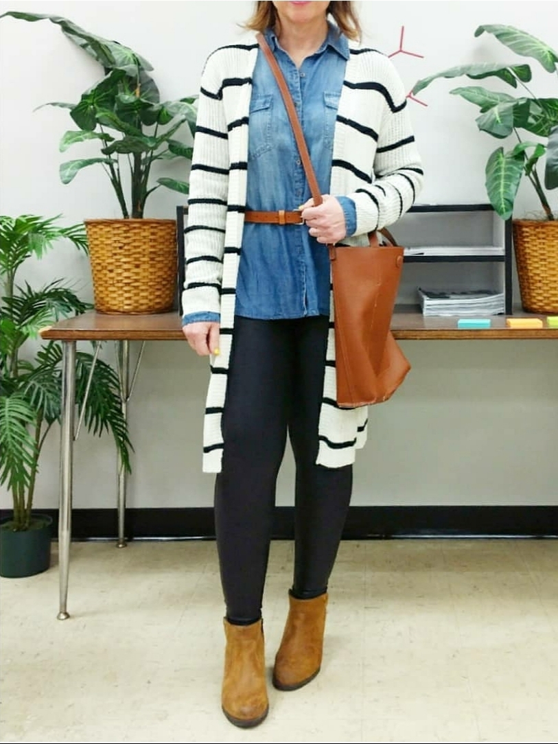 Chambray shirt with leggings, striped cardigan, and belted