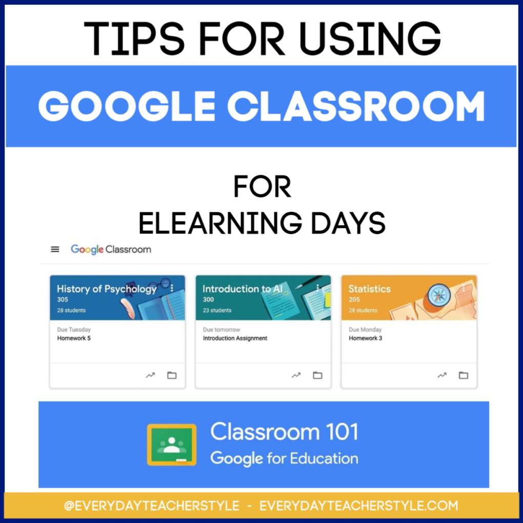 Title Image Using Google Classroom for eLearning Days Everyday Teacher Style