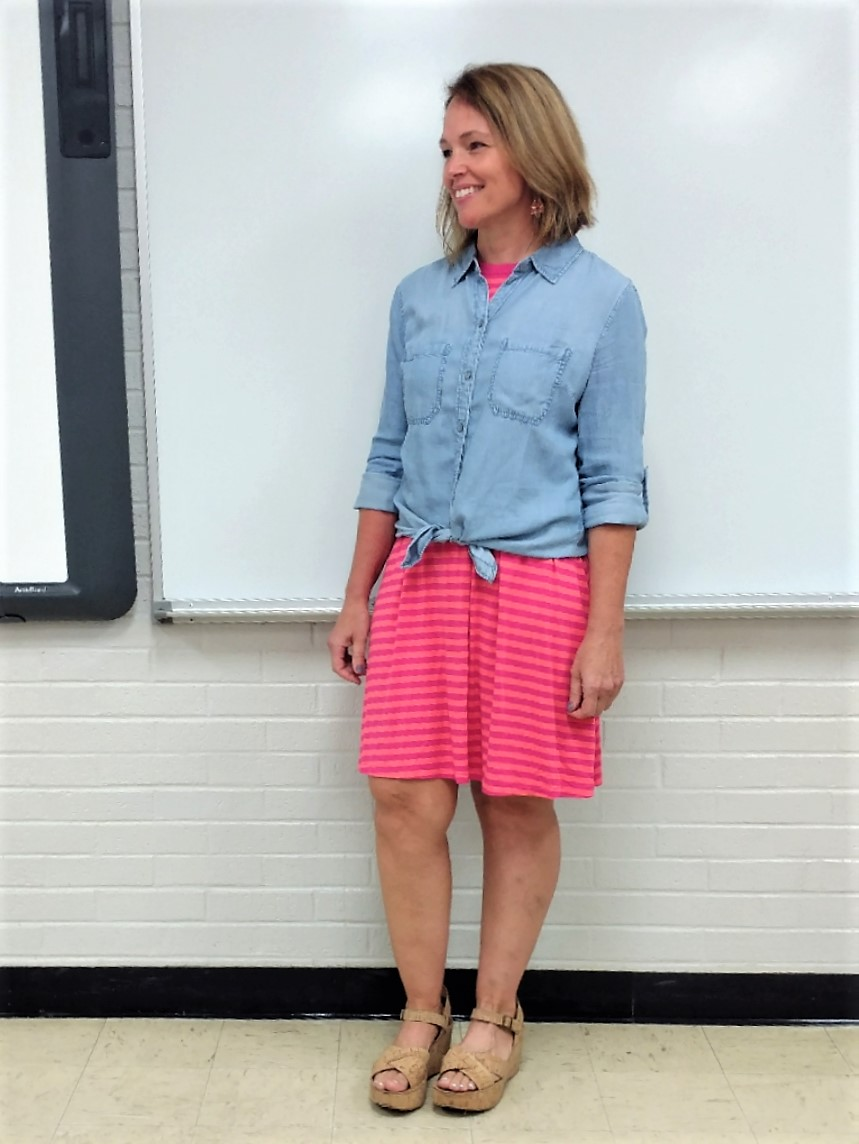 Chambray shirt tied over a t-shirt dress