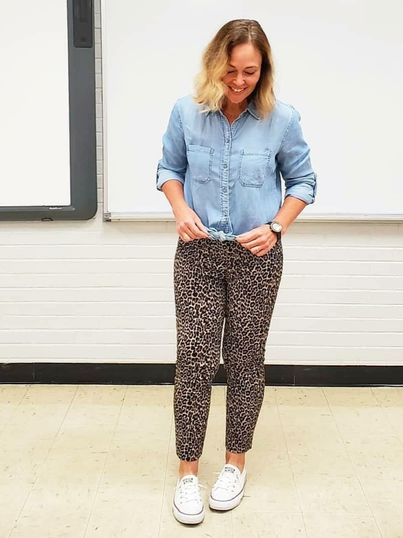 Chambray shirt with leopard pants and sneakers