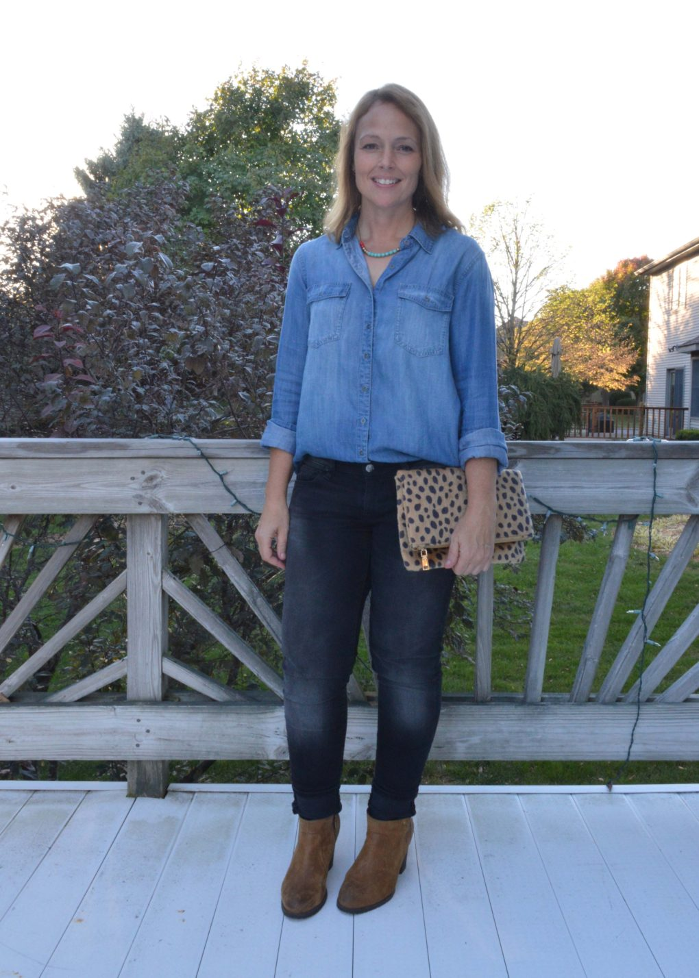 Chambray shirt with black jeans and a pop of leopard