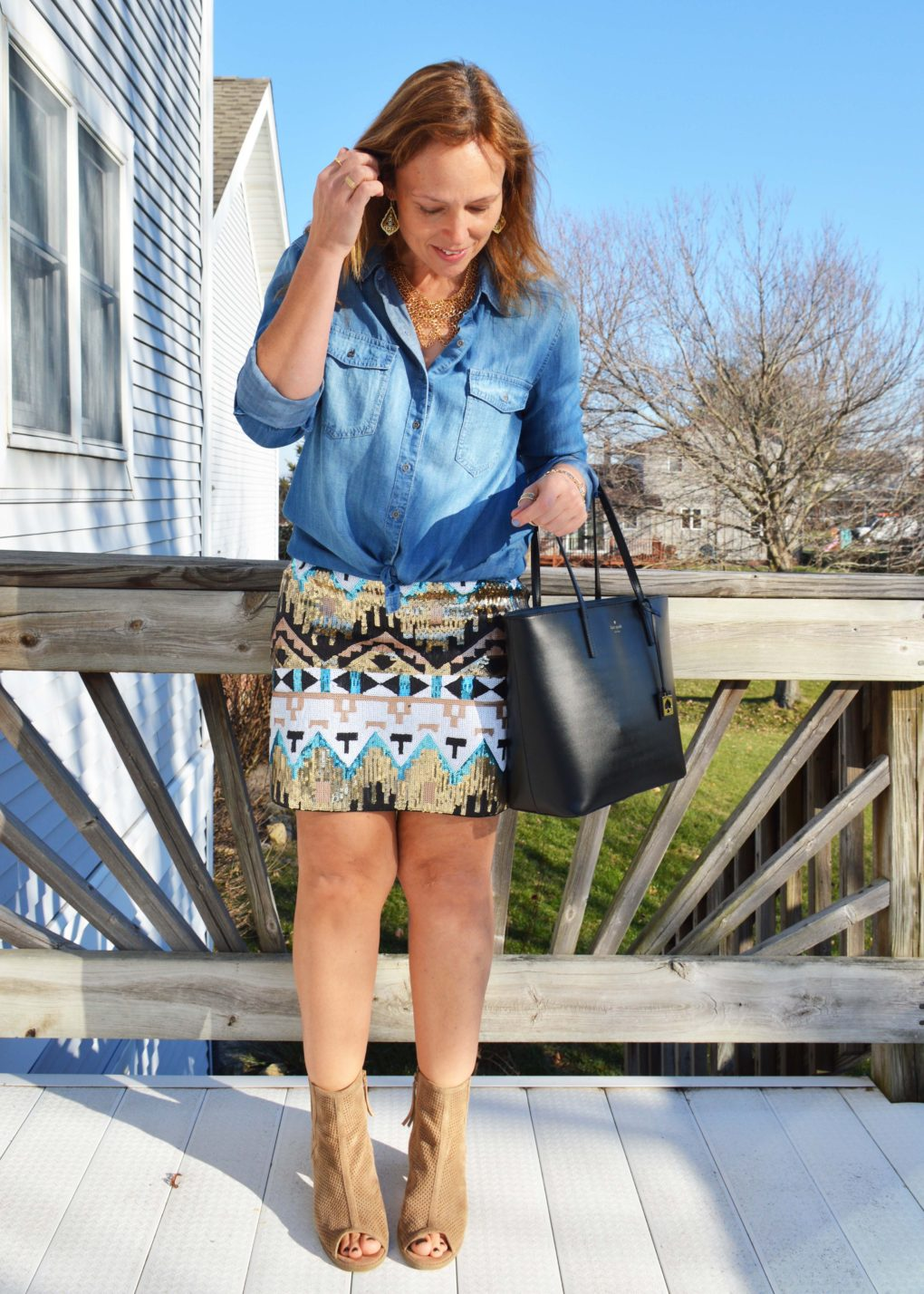 Chambray shirt with sequined sequin skirt