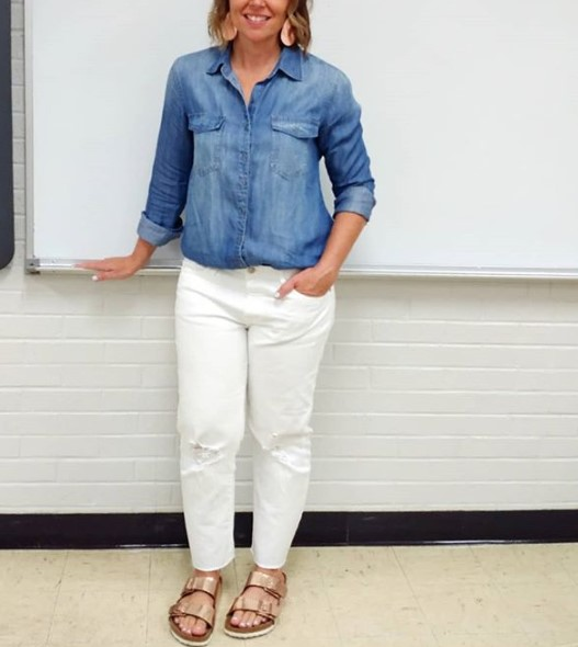 Chambray with white jeans and rose gold Birkenstocks and accessories