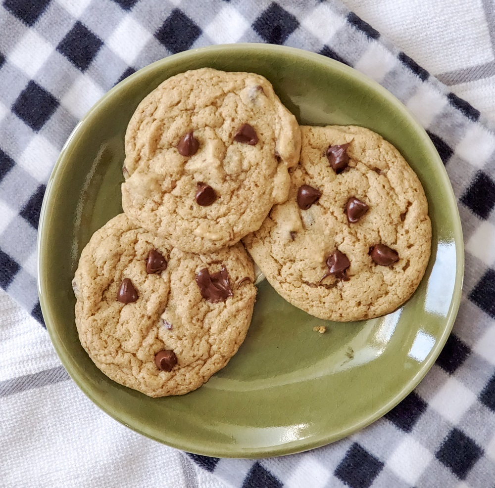 protein chocolate chip cookie recipe plate of cookies image
