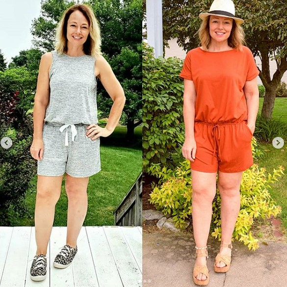 everyday teacher style two rompers: one casual with sneakers and one dressy with sandals