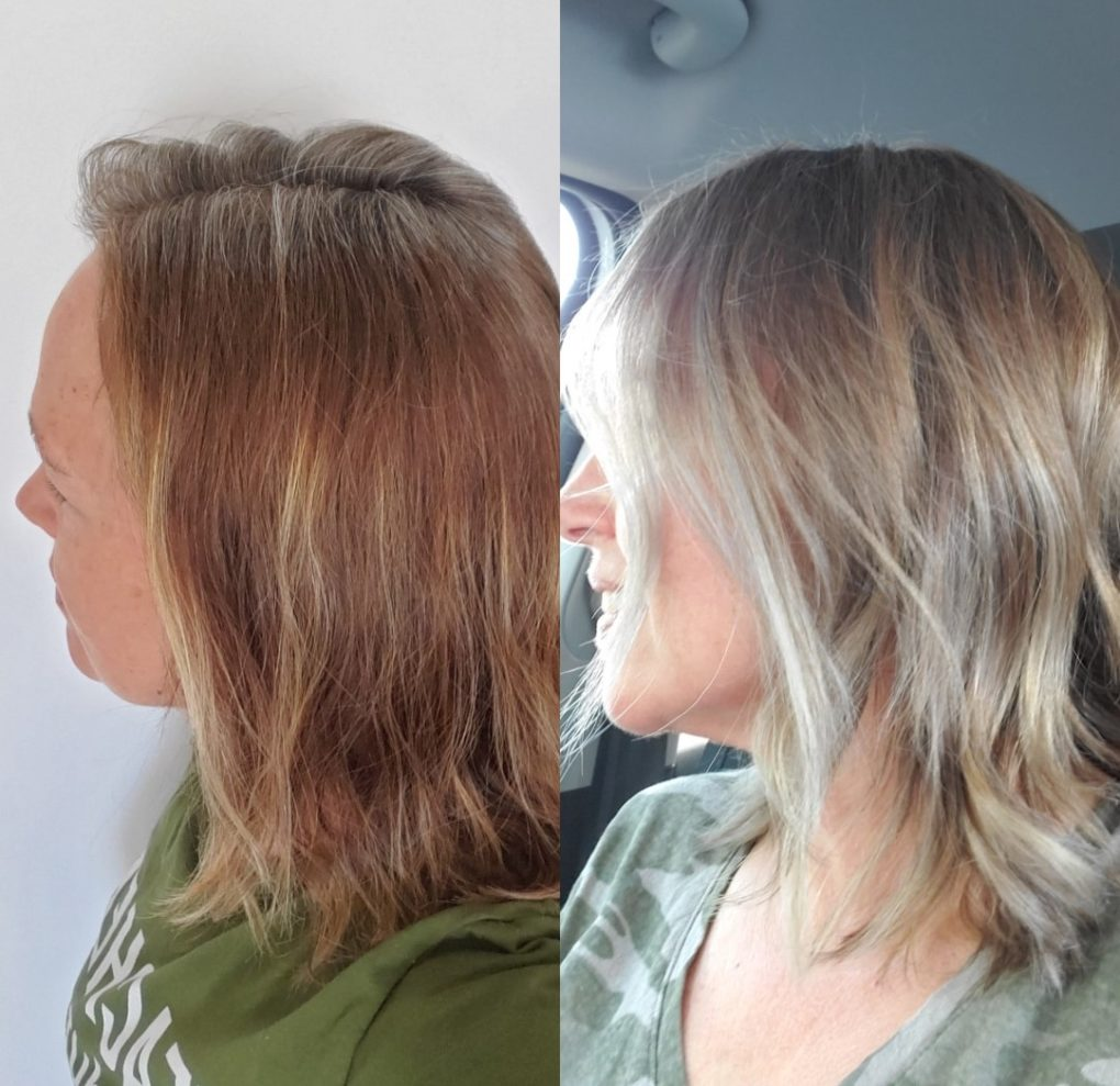 Before and after transitioning to gray hair with root growth showing