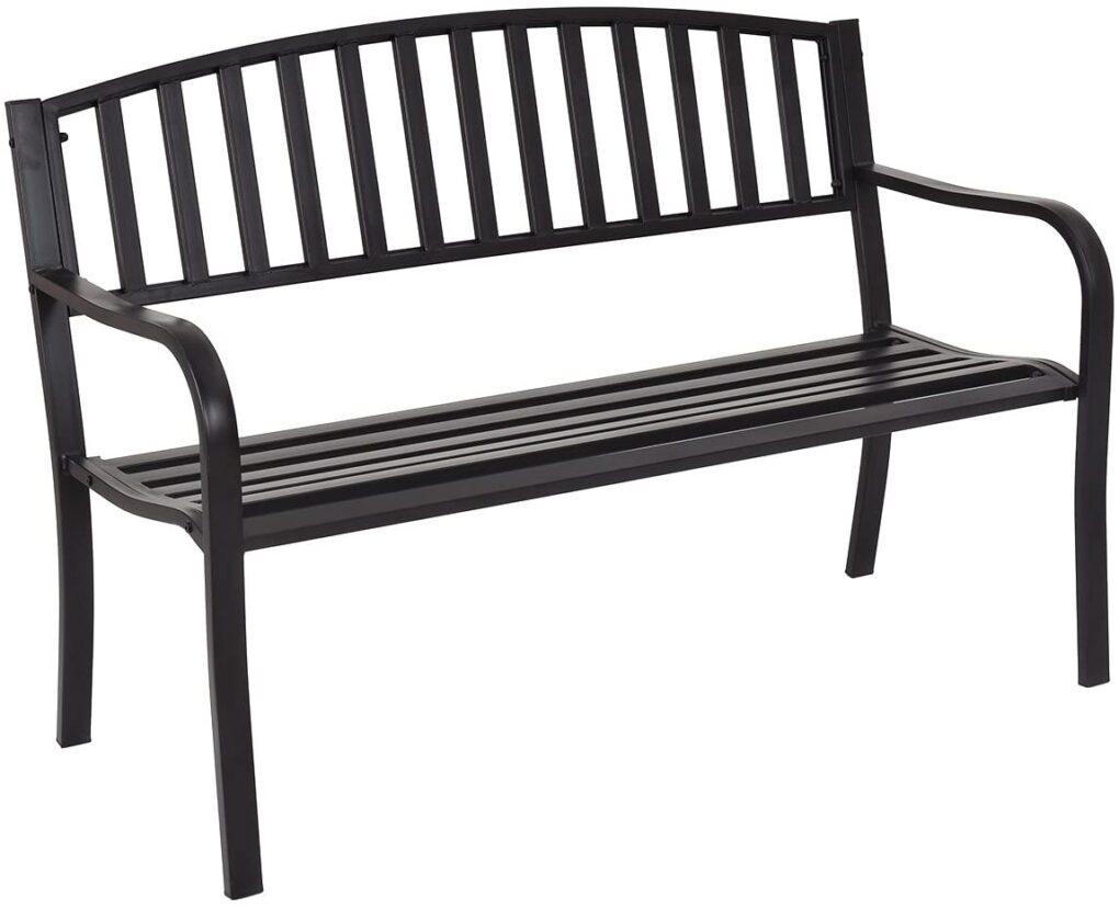 glossy black garden bench for front porch fall decor